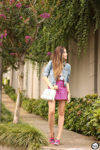 fashion coolture blogger polka dots pink skirt denim jacket skirt jacket bag shoes
