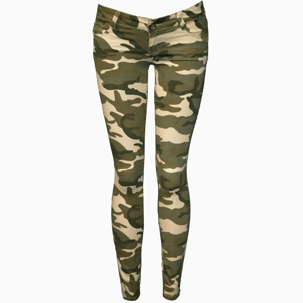 Ladies camouflage trousers womens slim fit skinny army military pants 6