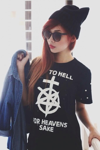 shirt unif t-shirt alternative black skirt white go to hell for heavens sake