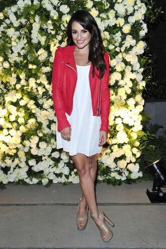 dress red jacket lea michele sandals platform sandals white dress