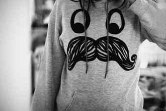 jacket grey sweater cute pretty girly mustache eyes