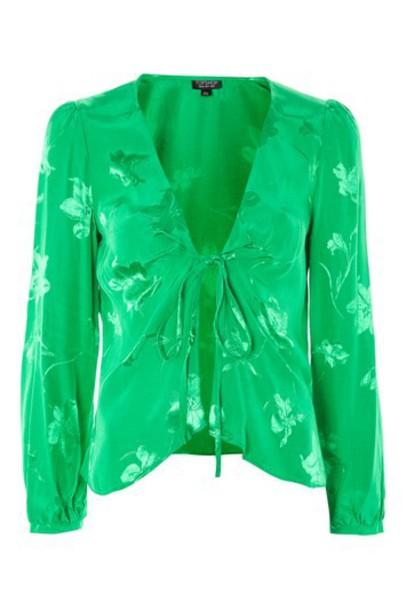 blouse jacquard green top
