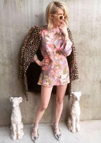 shorts top tunic coat animal print emma roberts flats ballet flats instagram sunglasses blouse