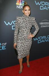 dress,bodycon dress,animal print,midi dress,pumps,jennifer lopez,long sleeve dress