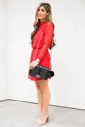 the darling detail - austin fashion blog,blogger,dress,shoes,bag,jewels,red dress,long sleeve dress,black bag,chain bag,sandals,high heel sandals