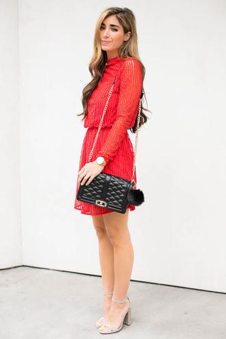 the darling detail - austin fashion blog blogger dress shoes bag jewels red dress long sleeve dress black bag chain bag sandals high heel sandals