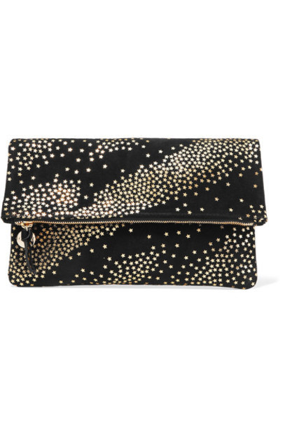 Clare V. clutch print suede black bag