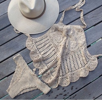 swimwear bikini bikini bottoms bikini top hat festival boho crop tops beige dress chic outfit crochet bikini halter neck