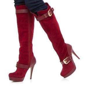 Women's Maroon Buckle Platform Boots Stiletto Heels Suede Boots