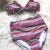 Stripe Bow Padded High Waist Bikini Suit
