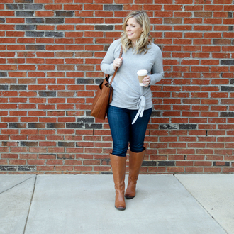 thesmallthings blogger bag shoes sweater t-shirt jacket tank top cardigan brown bag shoulder bag boots brown boots grey sweater