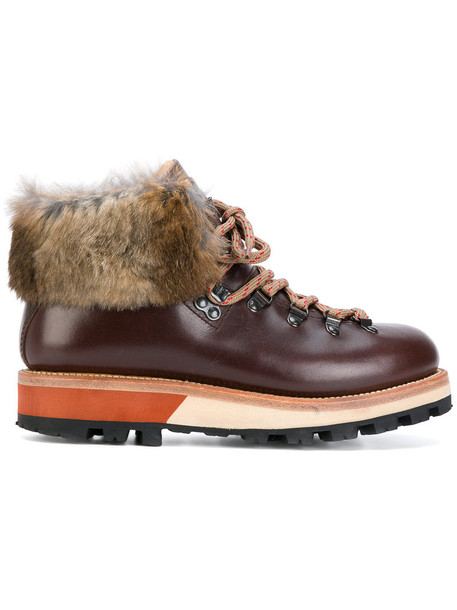 Woolrich fur women leather brown shoes