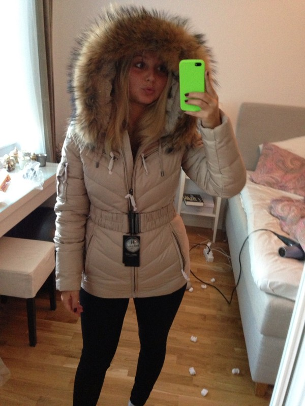 jacket, winter outfits, winter jacket, beige, fur, winter sports - Wheretoget