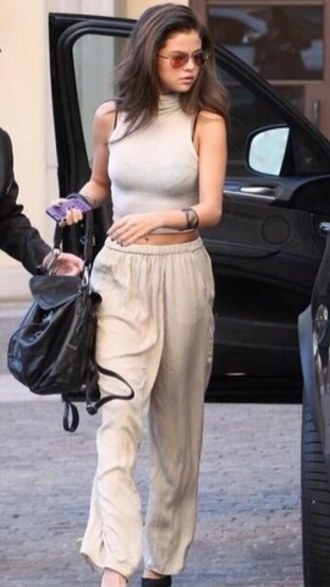 pants cream/tan pants selena gomez candid