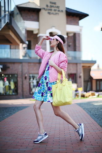 tina sizonova blogger jacket pink jacket texture floral dress yellow bag cap spring visor pink cap