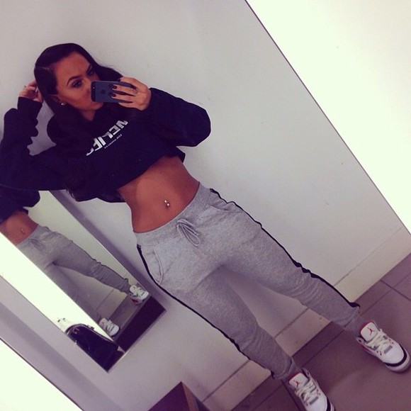 black sweater sweater pants sweats sweatshirt grey sweatpants crop sweater jordans
