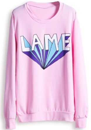 Amazon.com: Sheinside Women Pink Long Sleeve Lame Print Casual Sweatshirt Jumper: Clothing