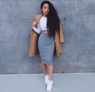 coat light brown coat cocoon coat grey skirt