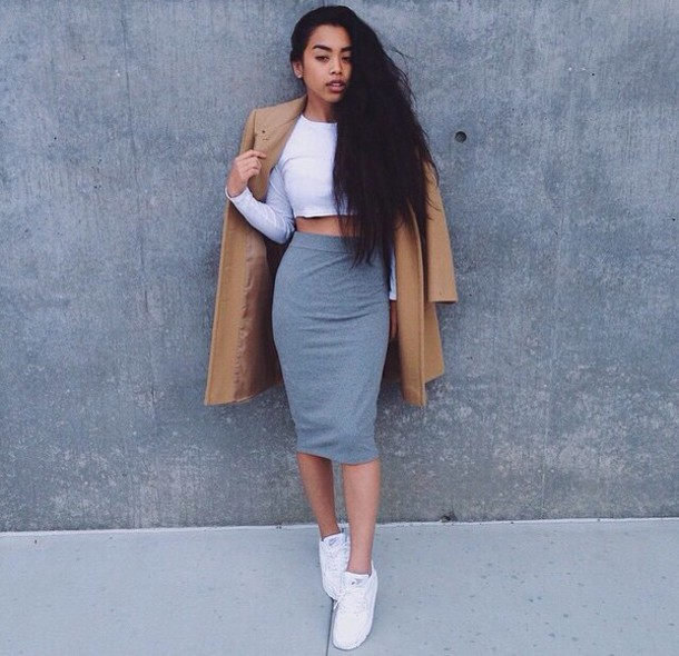 Coat: light brown coat, cocoon coat, grey skirt - Wheretoget