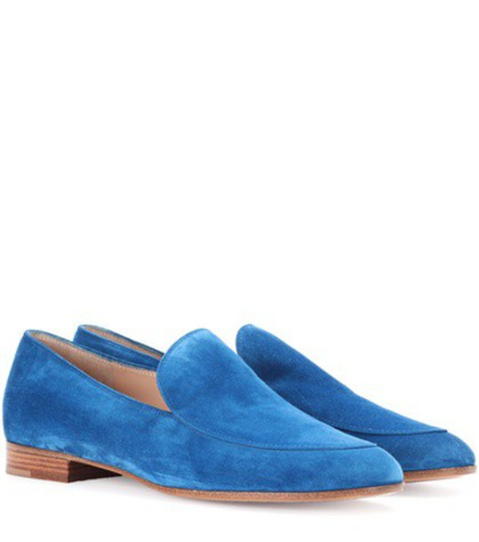 Gianvito Rossi loafers suede blue shoes