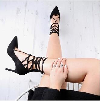 shoes black black heels high heel sandals lace up heels strappy heels