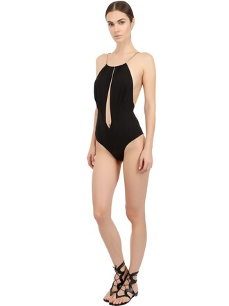 one piece swimsuit straps metal black swimwear