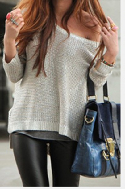 Sweater: white sweater, jeans, bag, black pants, pants, knit wear ...