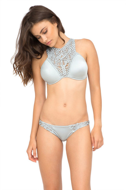 ae01cedb96ece swimwear, bikini, crochet, summer, fashion, style, silver, grey ...