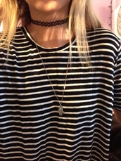dress,stripes,black and white,black dress,hamsa hand,choker necklace,necklace,tattoo choker,grunge,hipster,indie,jewels