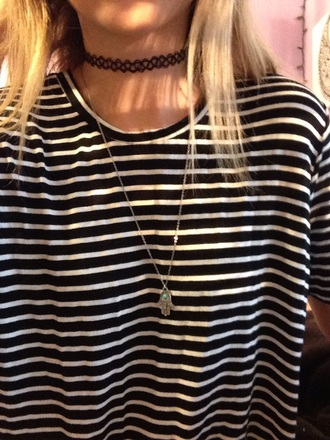 dress stripes black and white black dress hamsa hand choker necklace necklace tattoo choker grunge hipster indie jewels