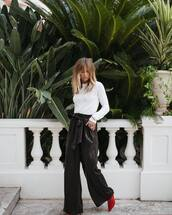 pants,leather pants,top,tumblr,black pants,wide-leg pants,white top,boots,red boots,fall outfits