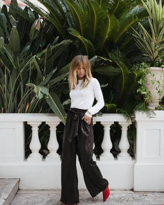 pants leather pants top tumblr black pants wide-leg pants white top boots red boots fall outfits