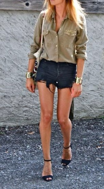 Shorts: thin black shorts, black cutoff shorts, black denim cut ...