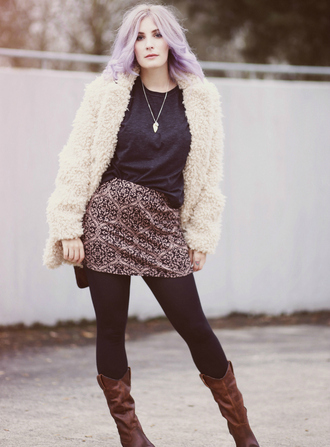 like a riot blogger pendant fuzzy coat pastel hair mini skirt brown leather boots