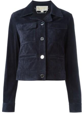 jacket women leather blue