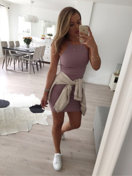 Dress Lila Nude Dress 90s Style H And M Cute Dress High Neck