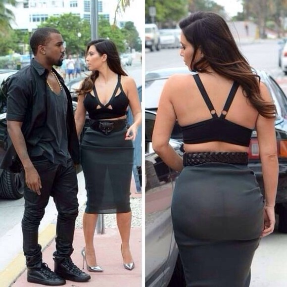 kim kardashian black skirt white, yeezus, kanye west crop tops tumblr