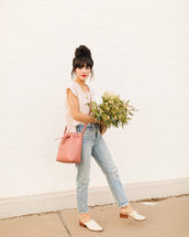bag,mini bag,basket bag,mules,ripped jeans,top