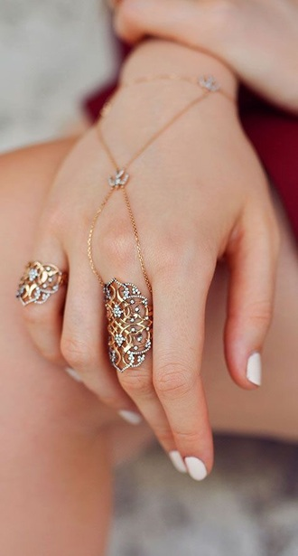 jewels gold filigree delicate dainty hand harness india indian pakistan pakistani indian ethnic wear jewelry ring gold ring