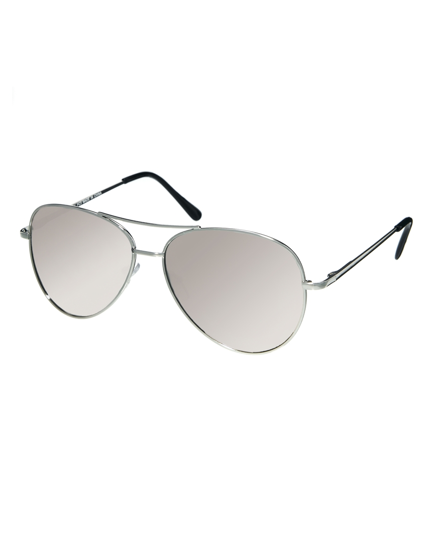 ASOS Silver Aviator Sunglasses With Mirrored Lens at asos.com