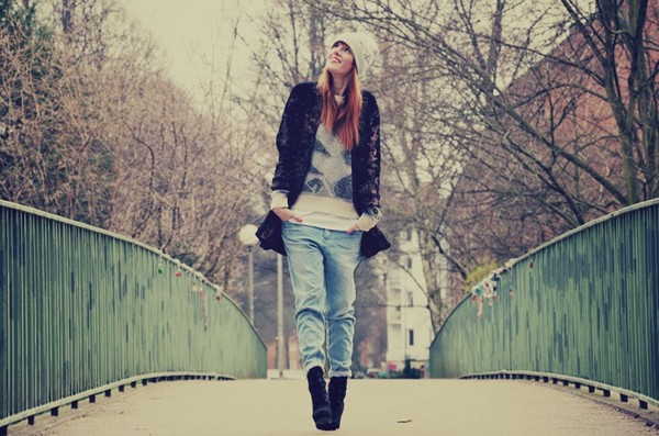 vicky's mode blog coat sweater pants jeans shoes hat