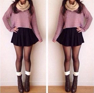 skirt black skirt skater skirt sweater red lime sunday cropped snood scarf cream tights boots heels leg warmers socks lace-up cropped sweater lavender