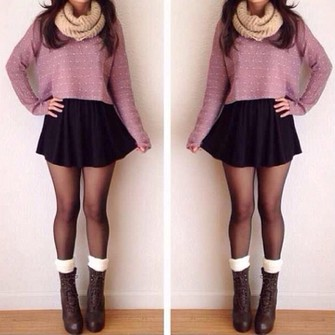sweater red lime sunday skirt black skirt skater skirt scarf heels boots tights snood cropped cream leg warmers socks lace-up cropped sweater lavender scarf red