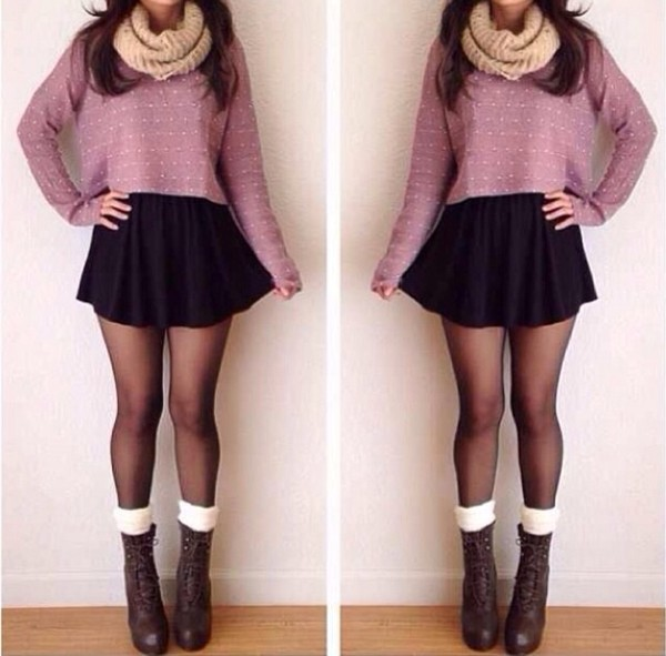 skirt black skirt skater skirt sweater cropped snood scarf cream tights boots heels leg warmers socks lace up cropped sweater lavender