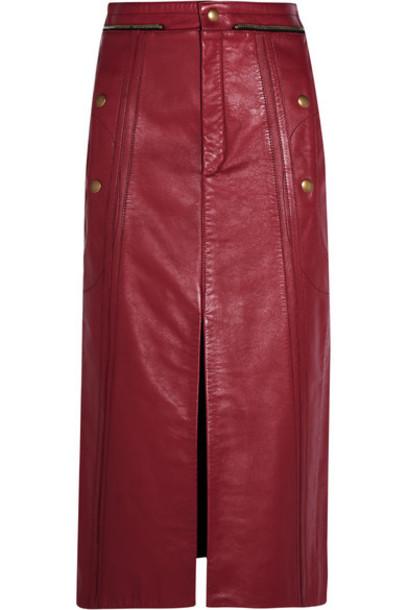 Chloé Chloé - Leather Pencil Skirt - Claret