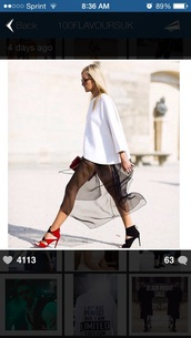 skirt,blonde hair,sweater,heels,blogger,classy,mesh,net,pumps,style,fashion,sunglasses,glasses,shades,fashion week 2014,clutch,bag,shoes,dress,black shoes,red shoes,two shades,two tone