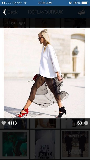 skirt blonde hair sweater heels blogger classy mesh net pumps style fashion sunglasses glasses shades fashion week 2014 clutch bag shoes dress black shoes red shoes two shades two tone