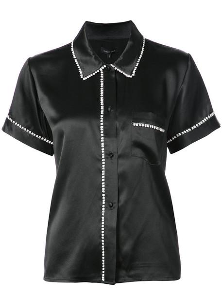MORGAN LANE shirt women black silk top