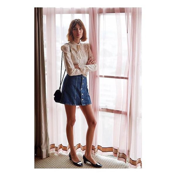 blouse flats alexa chung denim skirt