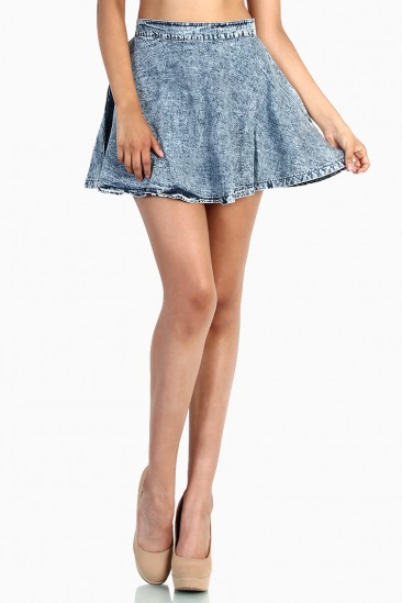 LoveMelrose.com From Harry & Molly | Acid Wash Denim Skater Skirt